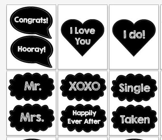 Photo Booth Quotes Simple Wedding Photo Booth Props Diy Speech Bubbles Digital Printable