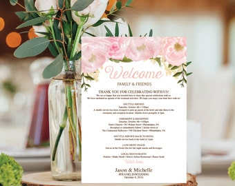 Wedding Itinerary Template - Wedding Welcome Bag Printable Itinerary - Editable Welcome Letter - 5x7 Wedding Agenda - DIY - Pink Floral