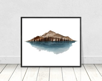 Nordic Watercolor Mountain Painting- Scandinavian Mountain Art Print- Lake Mountain Print- Nordic Wall Art- Mountain Landscape Art Print