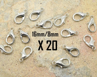 clasp 20 x 16mm classic / Silver 8mm