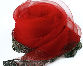 Red Silk Organza Scarf with Lace Hem - Red Silk Scarf with Lace Edges - AS257