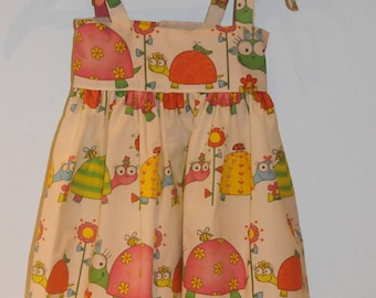 """dress with """"turtles"""" theme fabric straps"""