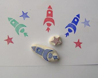 Rocket stamp, set of 2, outer space, spaceship stamp, aircraft vehicle, diy, star stamp, scrapbooking, air, boys stamp, crafts, wrapping