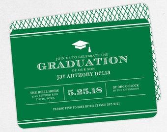Graduation Invitation, Graduation Announcement, Printable Invite, Invitation PDF, DIY Graduation, Printed, Modern, Boy, Stripes, Green, Jay