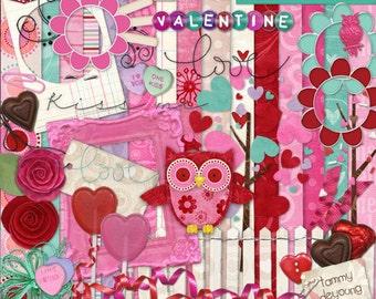 Digital Valentine Scrapbook Kit, Love Clip art, Valentine Wedding Kit, Boho Red & Pink Digital papers for invitations, announcements, cards