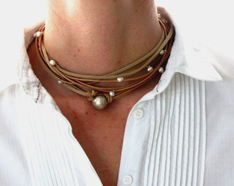 Leather Pearl Necklace, Sterling Silver Jewelry Boho Chic, Silver Choker, Pearl Wrap Necklace, Boho Wedding Jewelry, Wedding Anniversary