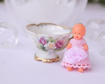 Mini doll 2 inches crochet pink dress Dollhouse crochet clothing baby doll Dollhouse doll dress Dollhouse miniature clothes Doll collectible