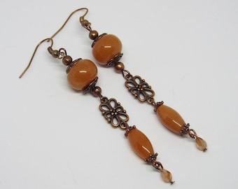 Red Aventurine Earrings, Orange Earrings, Dangle Earrings, Long Earrings, Gemstone Earrings, Boho Earrings, Long Gemstone Earrings