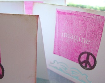 IMAGINE PEACE set of 4 blank mini greeting cards