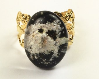 Memorial Keepsake fused glass ring with pets Ashes