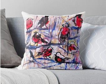 Christmas pillow christmas in july grenadine xmas pillow robin pillow cushions for couch decorative pillows red robin pillow red holiday