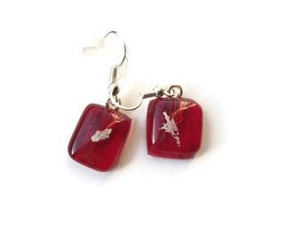 Small Red Dangle and Drop Earrings, 926 earrings, red fused glass earrings, fossil earrings, eco friendly earrings, sustainable