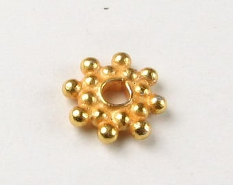 8mm Beads Snowflake Bali Gold Vermeil over Sterling Silver Spacer Fancy Star Beads (10 beads)