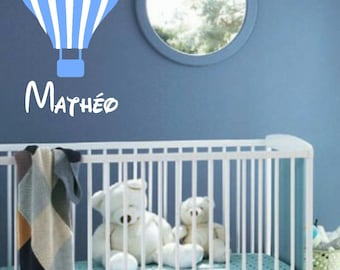 hot air balloon personalized name decal boy room