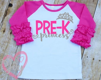 "Ruffle Sleeve Raglan ""Pre-K Princess"" Shirt, 3/4 Sleeve, Multiple Colors, First Day of School, Pre-K, Back to School"