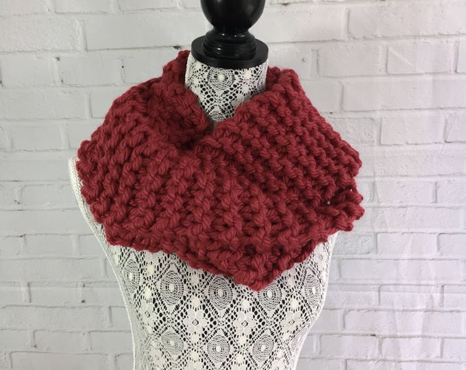 Red infinity scarf / red scarf / knit infinity scarf / ready to ship / made in Canada / gifts for her / women's scarf / hand knit scarf /