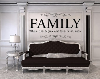 Family Where Life Begins And Love Never Ends Vinyl Wall Decal, Family Room  Decal,