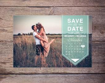 Modern Save the Date Postcard, Save-the-Date Card Photo, Postcard, Calendar Destination Wedding, DIY Printable, Digital File - Elijah+Eliana