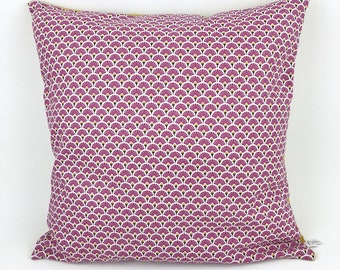 Cushion cover 40 x 40 cm - fan of purple and mustard yellow linen graphic pattern. Cotton and confetti