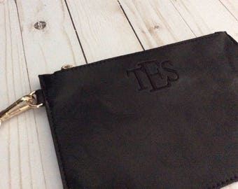 Personalized Monogrammed Wristlet Clutch Purse Handbag Great Bridesmaid Maid of Honor Wedding Gift - 3 Colors