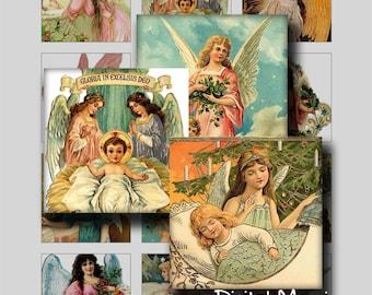 Vintage Christmas Angels square images digital collage sheet printable for instant download
