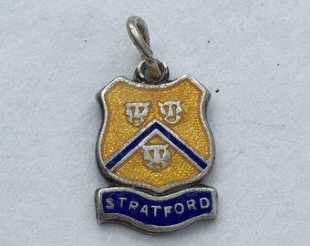 Stratford, UK Travel Shield Charm - Sterling Silver Enamel Vintage Bracelet Charm, Pendant.