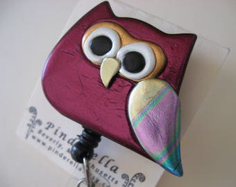 Retractable Reel Badge ID Holder Whimsical Owl in burgundy alligator or belt clip
