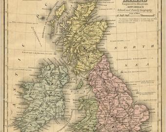 Ireland Map, Great Britain, Great Britain Map, Map Ireland, Britain Map, Map Great Britain, Great Britain Ireland, Map Britain, Map Wall Art
