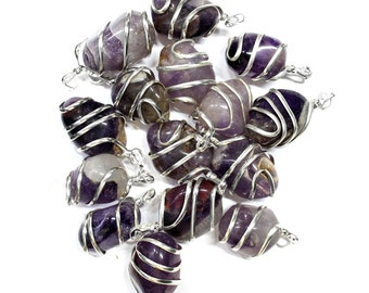 Wire Wrapped Stone Tumbled Amethyst Silver Tone Spiral Tumbled Amethyst Pendant - Silver Tone Spiral Wrapped - TS-108-04