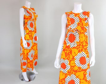 1960's Psychedelic Polka-Dotted Maxi Dress