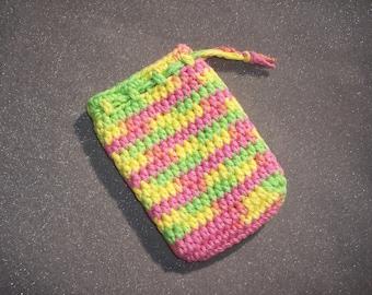 blue and white handmade cotton crochet soap saver soap sack  -- 126
