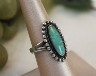 Size 8 1/4 Vintage Native American Sterling Silver and Turquoise Ring