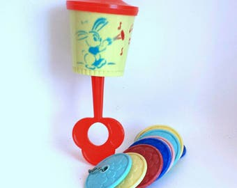 Vintage Chiming Baby Rattle and Disk Teething Toy 1960s
