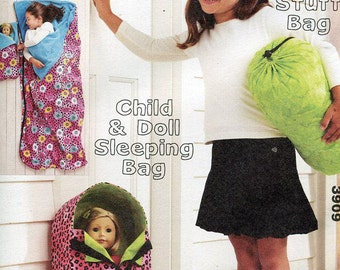 Free Us Ship Kwik Sew 3909 Sleepover Party Child & Doll Sleeping Bag FF New Condition Out of Print  Sewing Pattern Fits American Girls Dolls
