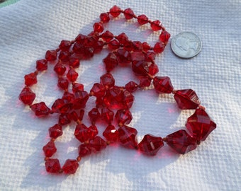 "Art Deco ruby red Czechoslovakia large graduated glass beads knotted beaded impressive 36"" Necklace"