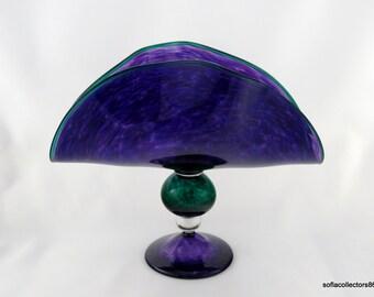 Large Fan Shaped Studio Art Glass Center Piece - Artist Signed 1996