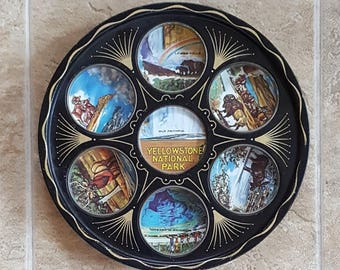 Yellowstone Souvenir Tray Tin Litho 7 Points of Interest