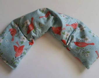 Hot Pack,Rice heating pad,  Heated neck warmer, Microwave Heating Pad, Cold Pack, Scented or Unscented  -  Bird Red
