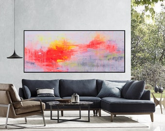 Large painting original Abstract painting Extra large painting on canvas Orange pink art Horizontal painting Canvas art Abstract wall art