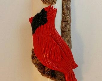 Cardinal on a Wood Branch Mezuzah Case