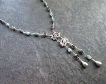 """Beaded Gemstone Lariat necklace with Amazonite Smoky Quartz and silver filigree detail 16"""""""