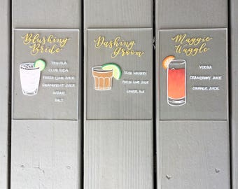 Signature Cocktail Signs | Wedding Decor | Acrylic Drinks Sign | Hand Painted Wedding Sign | Signature Drink Sign