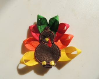 The Hair Bow Factory TURKEY Hair Bow Ribbon Sculpture Thanksgiving Applique Turkey Alligator Clip