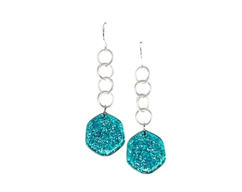 Emerald Green Textured 'Stained Glass' Lucite Chain Drop Earrings   Vintage Lucite Statement Earrings