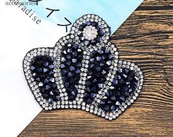 Crown sequins  crytal patch applique vintage embroidered patch
