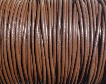2mm Chocolate Brown Genuine Leather Cord - 10 Yard Increments