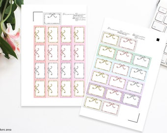 Pastels with Bows   Half boxes   Printable Planner Stickers   Erin Condren & Classic Happy Planner