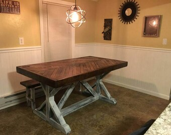 Rustic Chevron Top Table, Trestle Base Table, Dining Table (Reclaimed Wood)