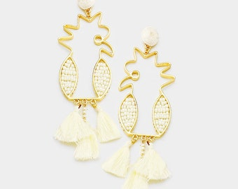 Beaded Parrot Drop Triple Tassel Feather Dangle Earrings