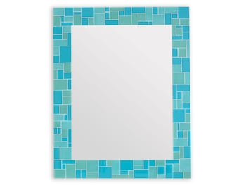 Turquoise Bathroom or Bedroom Mosaic Mirror in Stained Glass Mosaic Tiles – 24x30 Mirror or 3 Other Sizes
